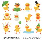 Funny Duckling Set. Cute Yello...