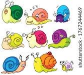 Snail Set. Cute Cartoon Snail...