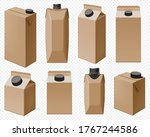 craft dairy pack. brown milk...   Shutterstock .eps vector #1767244586