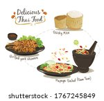 set of thai food  sticky rice ... | Shutterstock .eps vector #1767245849
