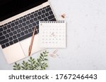 Calendar With Rose Gold Pen On...