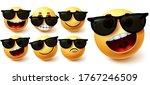 emoji in sunglasses vector set. ... | Shutterstock .eps vector #1767246509