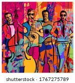 jazz band on a colorful... | Shutterstock .eps vector #1767275789