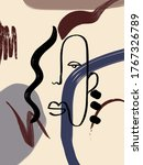 drawing of abstract linear face ... | Shutterstock . vector #1767326789