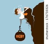 business man with debt falling... | Shutterstock .eps vector #176733326