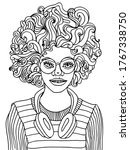 girl with headphones coloring...   Shutterstock .eps vector #1767338750
