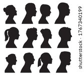 silhouette heads.set of profile ... | Shutterstock .eps vector #1767340199