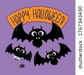 happy halloween text with cute... | Shutterstock .eps vector #1767343430