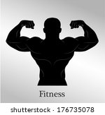 muscle man figure   Shutterstock .eps vector #176735078