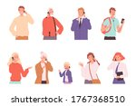 phone dialogue. talking people... | Shutterstock .eps vector #1767368510