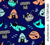 Seamless  Sketch  Shark Pattern ...