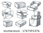 cardboard boxes set. closed and ... | Shutterstock .eps vector #1767391376