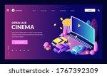 open air car night cinema.... | Shutterstock .eps vector #1767392309