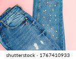 Denim Jeans With Beads On Pink...