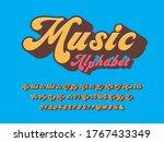 a groovy hippie style alphabet...   Shutterstock .eps vector #1767433349