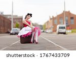Retro Style Girl In A Dress An...