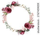 floral frame of brown and... | Shutterstock . vector #1767459059