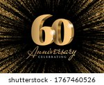 anniversary 60. gold 3d numbers.... | Shutterstock .eps vector #1767460526