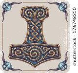 Hand-drawn Thor's Hammer (Mjolnir).