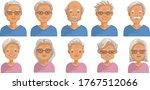 elderly face set. elderly  head ...   Shutterstock .eps vector #1767512066