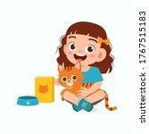 happy cute little kid girl play ... | Shutterstock .eps vector #1767515183