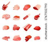 set ofmeat cuts assortment  ... | Shutterstock .eps vector #1767532793