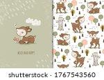 cute baby little deer sitting... | Shutterstock .eps vector #1767543560