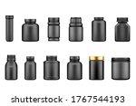 black plastic jar mockups... | Shutterstock .eps vector #1767544193