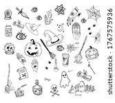 doodle sketch halloween... | Shutterstock .eps vector #1767575936