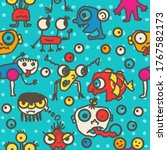 seamless colorful monsters... | Shutterstock .eps vector #1767582173