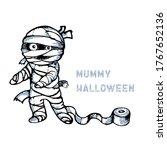 cute cartoon mummy art line... | Shutterstock .eps vector #1767652136
