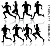 set of silhouettes. runners on... | Shutterstock .eps vector #176765576