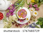 Herbal Tea In A White Cup On A...
