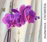 Hand Drawn Blooming Purple...