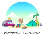 a couple resting on the beach...   Shutterstock .eps vector #1767688436