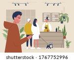 a modern coffeeshop scene  a... | Shutterstock .eps vector #1767752996