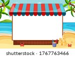 blank banner with awning in...   Shutterstock .eps vector #1767763466