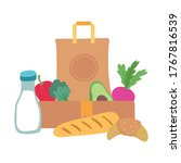grocery bag and box with... | Shutterstock .eps vector #1767816539