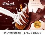 chocolate soft serve ice cream... | Shutterstock .eps vector #1767818339