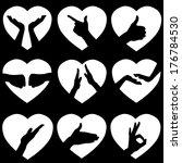 Illustration Of 9 White Hearts...