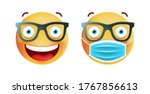 cute emoticon with face mask... | Shutterstock .eps vector #1767856613