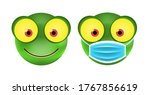 cute frog emoticon with face... | Shutterstock .eps vector #1767856619