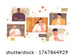 pensive single woman looking... | Shutterstock .eps vector #1767864929