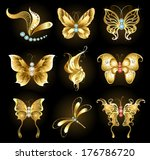 Set Of Golden Dragonflies And...