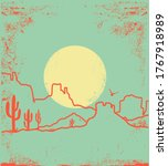 vintage desert landscape with...   Shutterstock .eps vector #1767918989