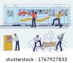 set of vandals damaging public... | Shutterstock .eps vector #1767927833