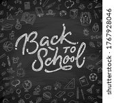 back to school text drawing by... | Shutterstock .eps vector #1767928046