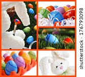 Easter collage includes whimsical still life of stuffed bunny 'painting' eggs, brightly colored easter eggs hidden in grass, eggs in a ceramic tray, and bunny with floppy ears. - stock photo