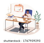 smiling freelancer black man... | Shutterstock .eps vector #1767939293