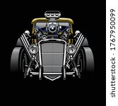 vintage hotrod custom car with... | Shutterstock .eps vector #1767950099